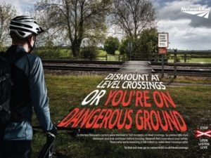Network Rail Push Bike Level Crossing Safety Message