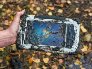ALGIZ-7 Rugged Tablet Handheld in Mud