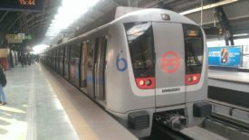 Bombardier Train on the Delhi Metro Line