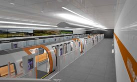 Graphic imagining the new Glasgow subway platform and train.