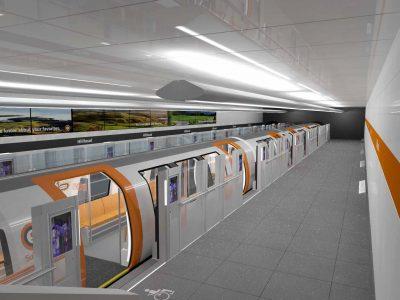 Graphic imagining the new Glasgow subway platform and train.
