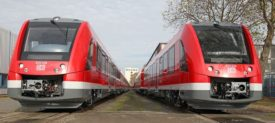 Two Alstom Coradia trainsets at a press event