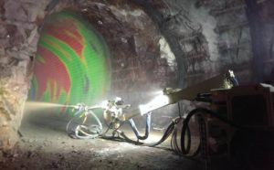 Interior of tunnel being surveyed using Amberg Technologies surveying technology