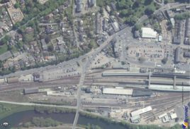 Arial shot of Exeter St David's Train Station