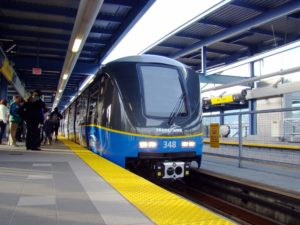 Bombardier train at north american station