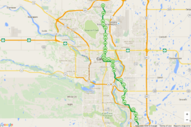 Google map image for proposed Green Line LRT route in Calgary City
