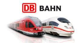DB Logo with Trains red and white