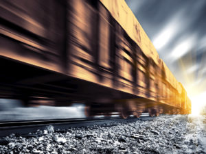Freight train at speed
