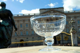 Queen's award cup outside buckingham palace