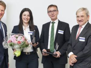 DB Schenker Award 2014 ceremony: Dr. Richard Lutz (l.), Dr. Helena Preiß, Prof. Dr. Alexander Pflaum, Prof. Peter Klaus