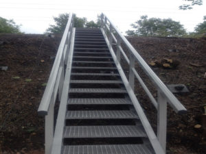 Nonconductive GRP railway staircase by Fiberline Composites