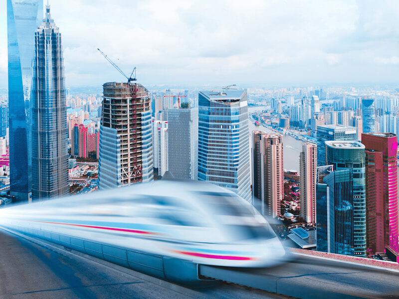 Very High-Speed Train at  Shanghai Lujiazui Fnancial Center