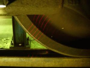 Wheel Profile Diameter Gauge showing Multiple Laser Beams