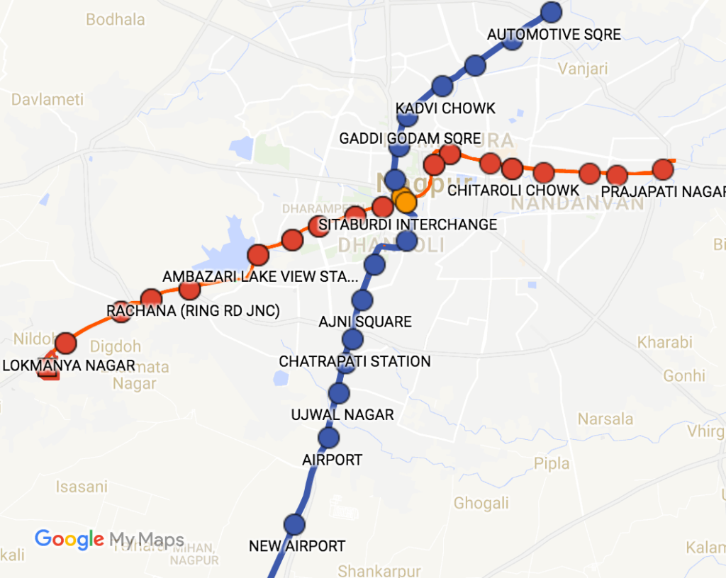 Nagpur Metro Rail Route