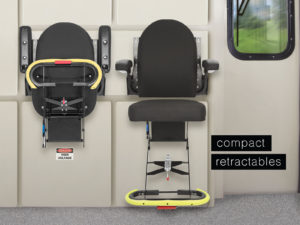 Baultars compact retractable seat for trains