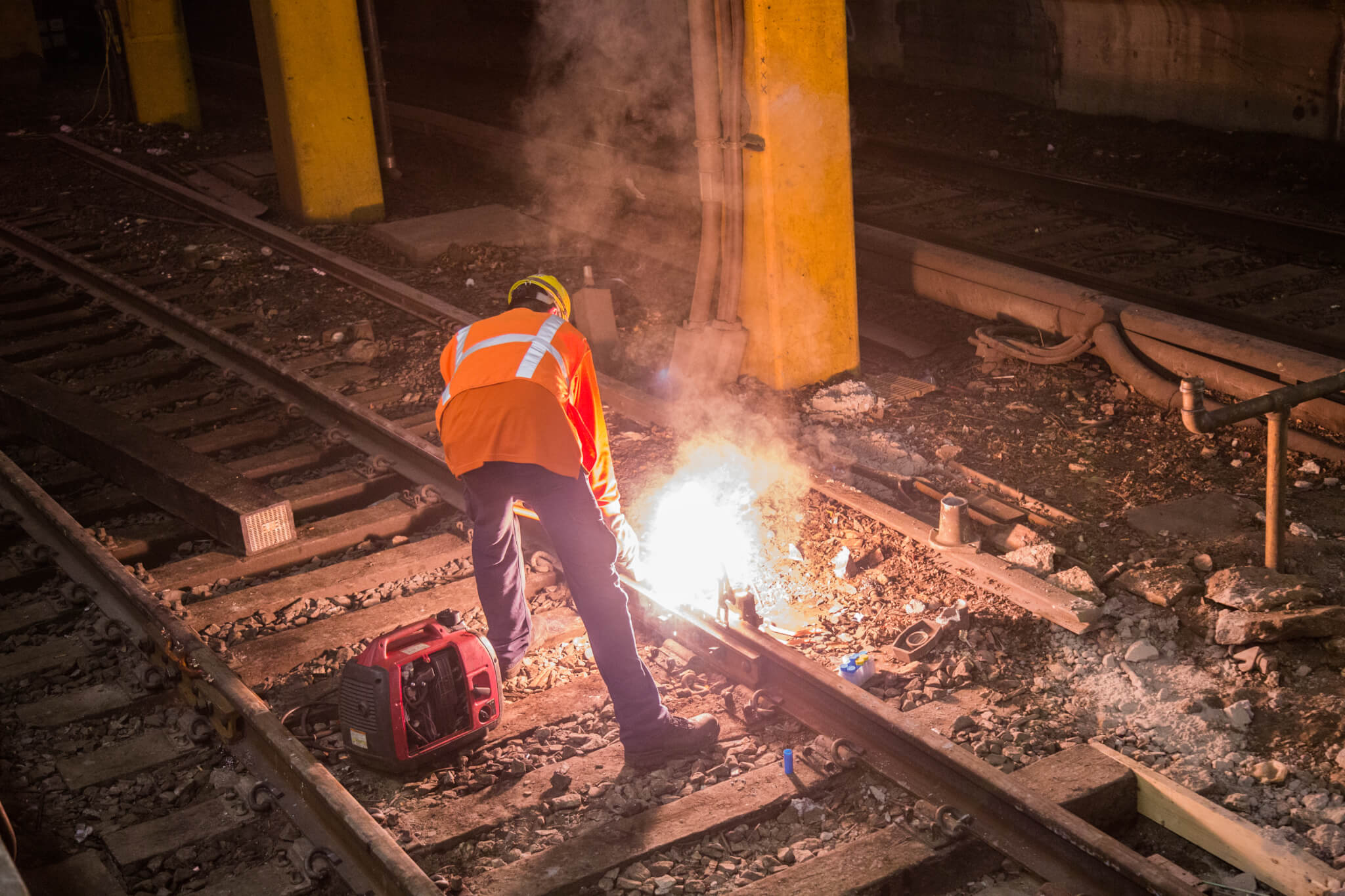 Welding works at New York Penn Station