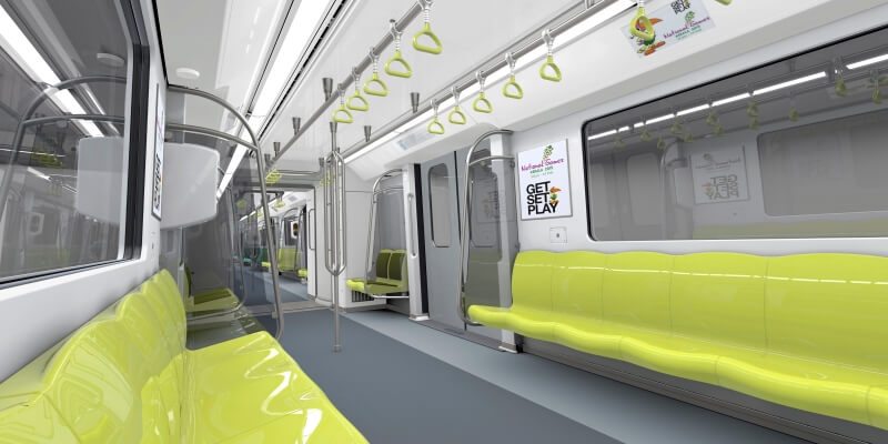 The interior of the Kochi Metro cars