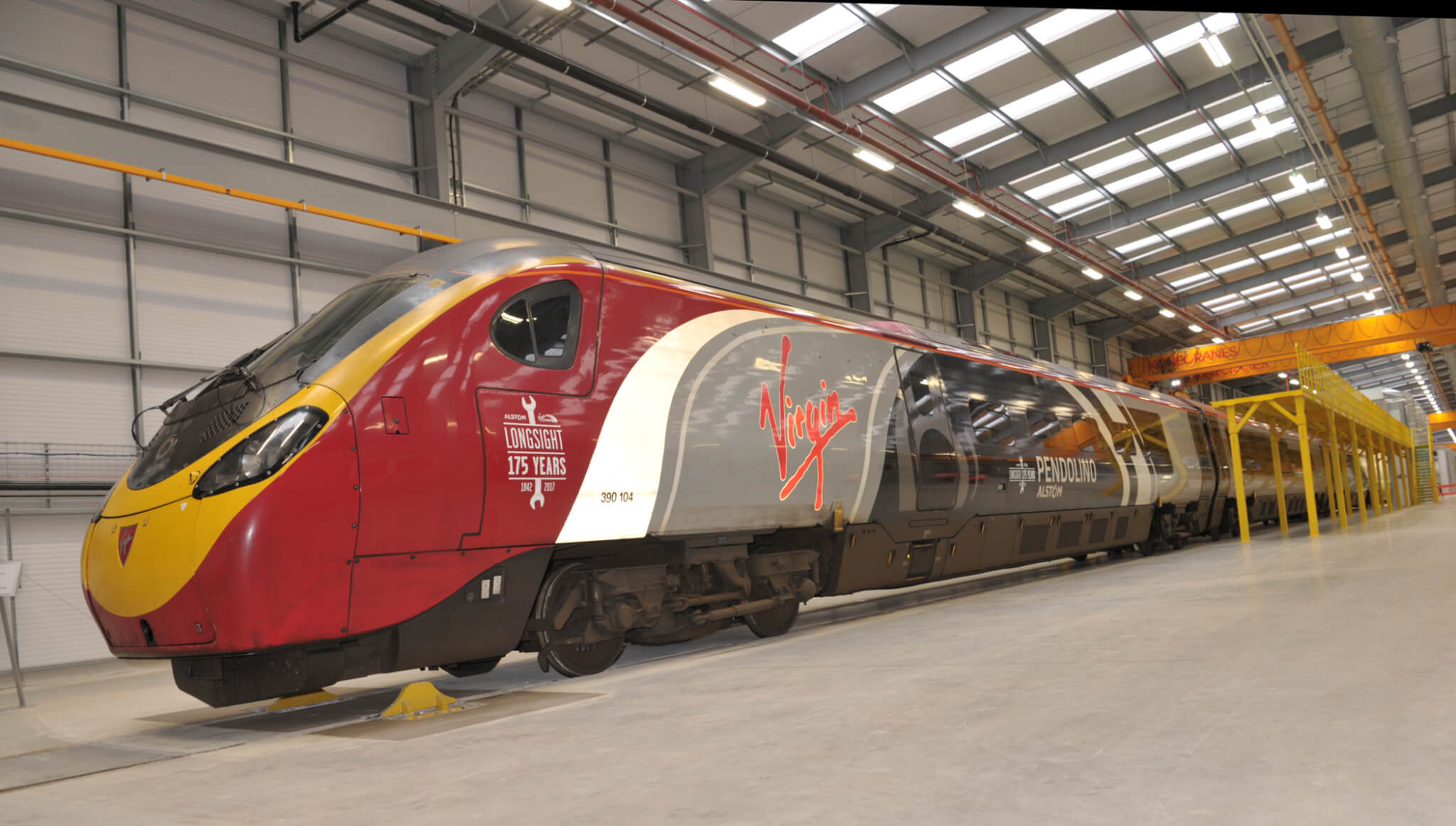 The Pendolino train has already arrived at Alstom's rolling stock modernisation centre