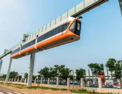 CRRC Rolls Out Prototype Suspended Monorail Train