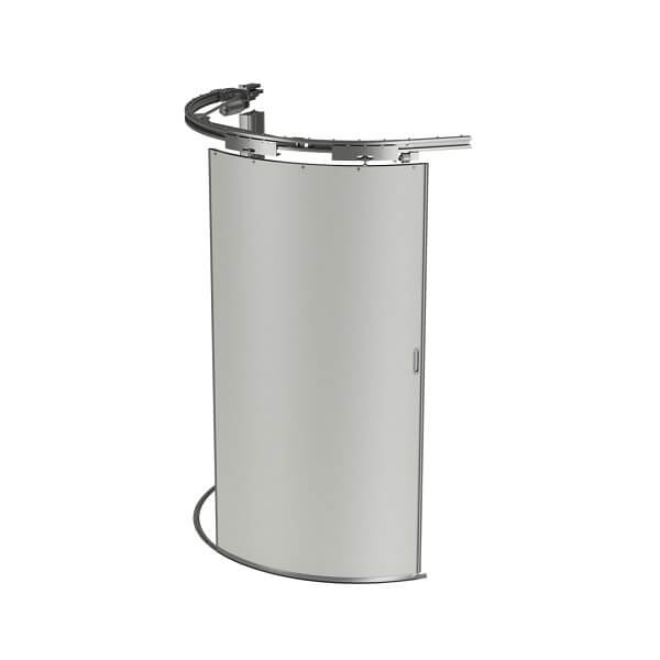 Curved door system for UWC toilet modules