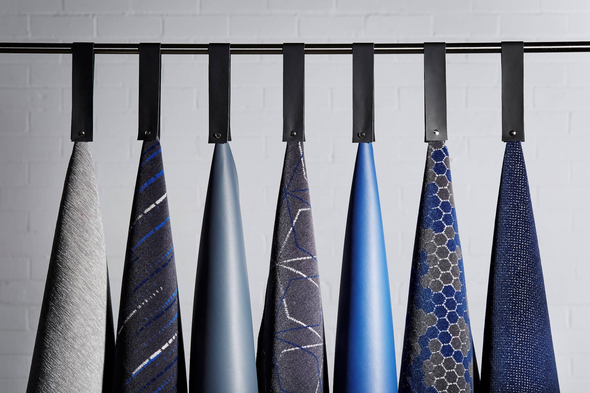 Moquette fabric, Aura Twist and vinyl, Vita
