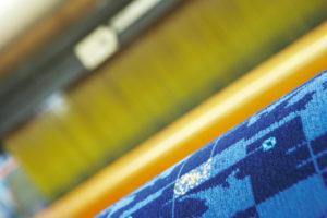 Moquette fabric in loom