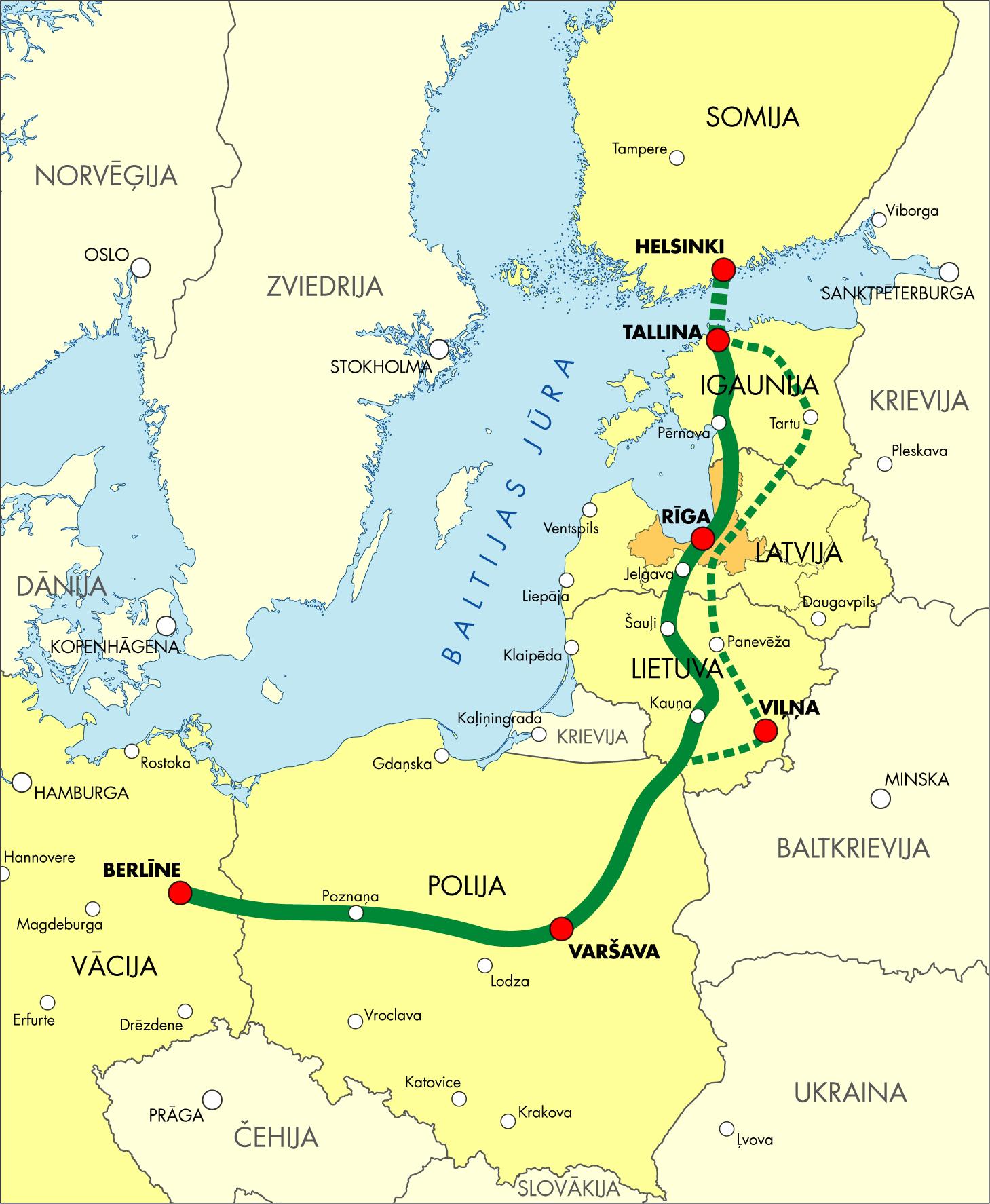 The Rail Baltica railway line map