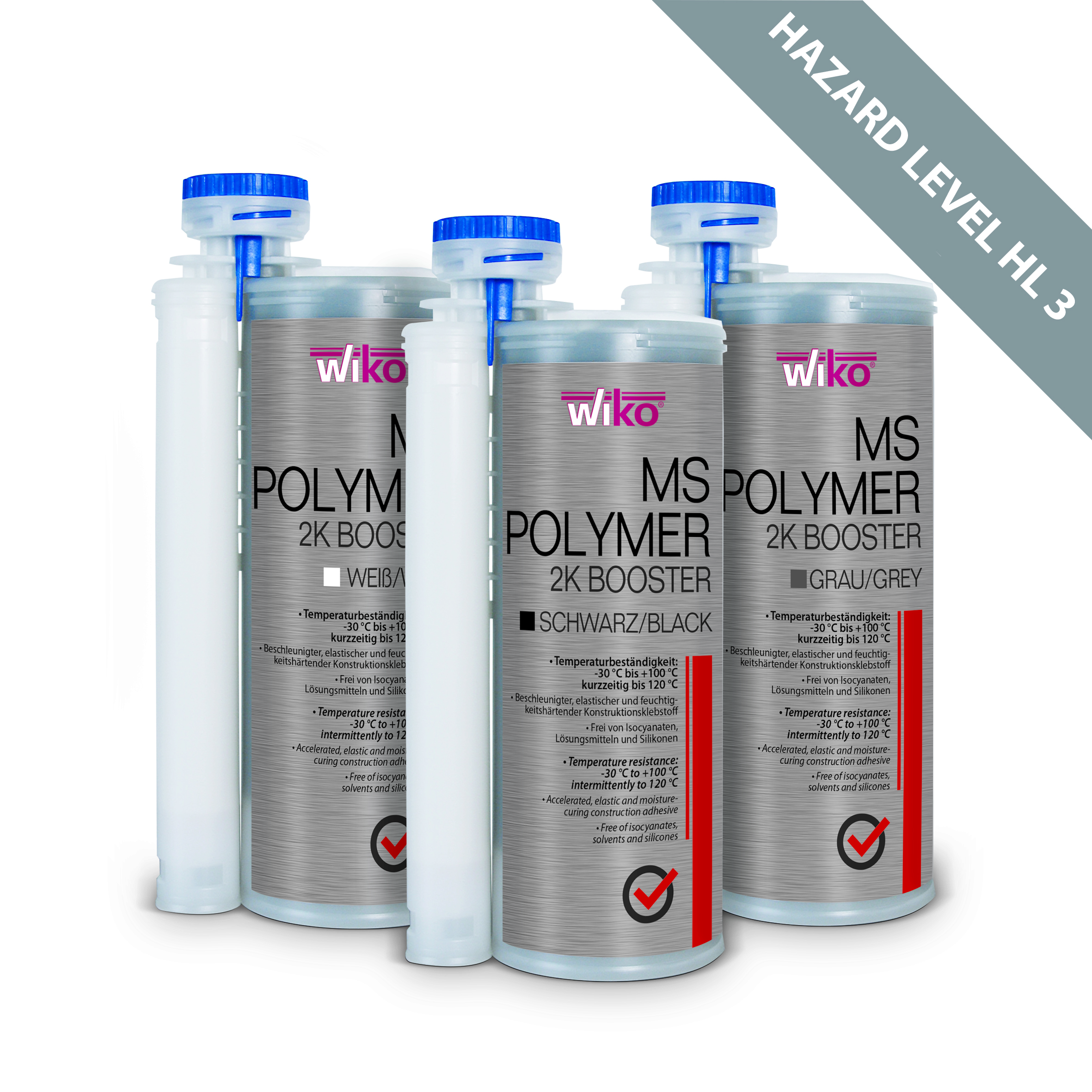 WIKO MS Polymer 2K Booster: Certified adhesive suitable for indoor and outdoor use, Hazard Level 3