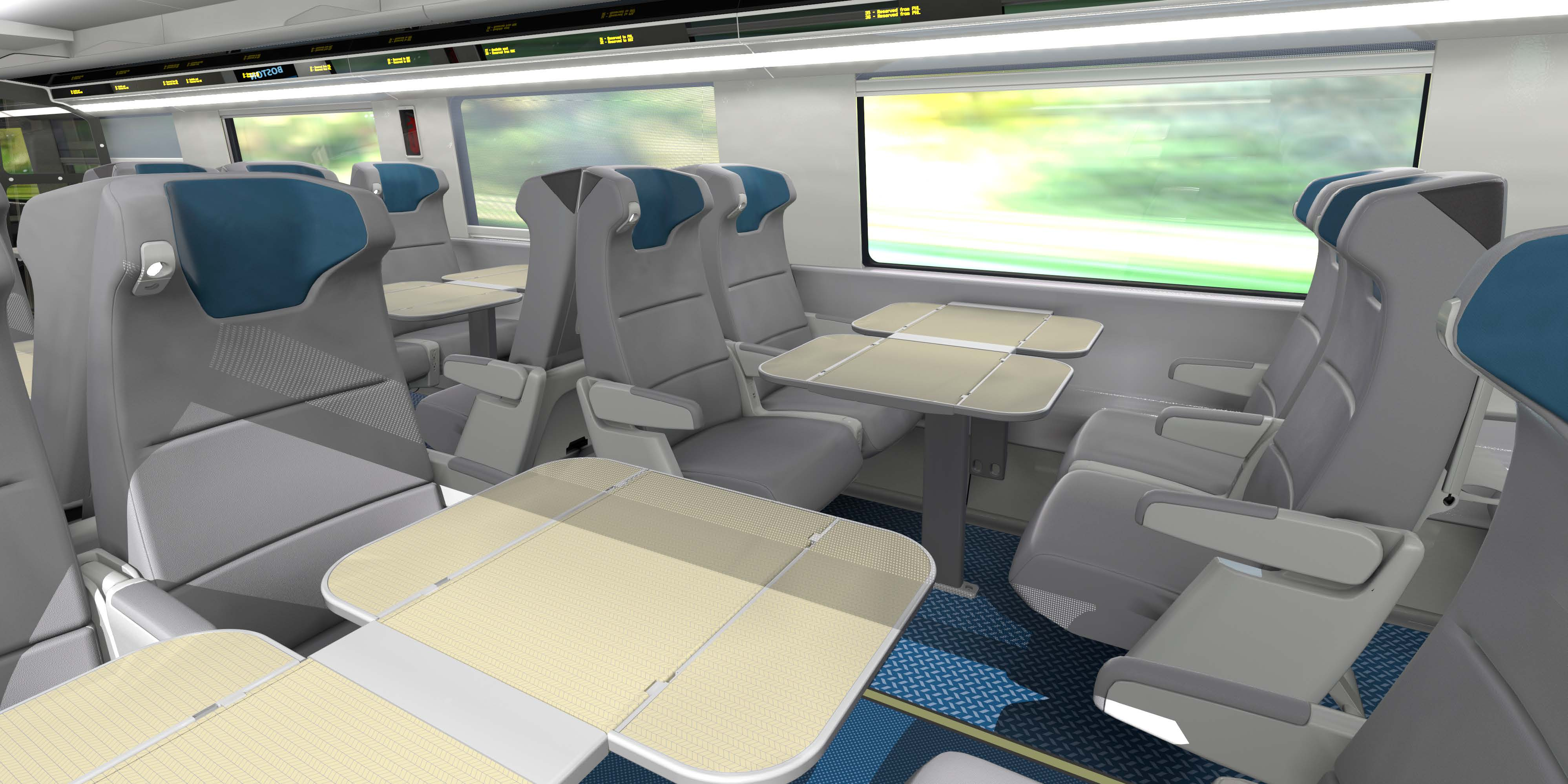 Business class interior of new Acela Express fleet