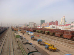 The China Railway Express went through Manzhouli Station
