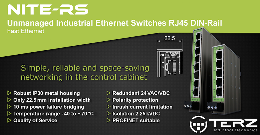 Industrial Ethernet switches for DIN rail mounting