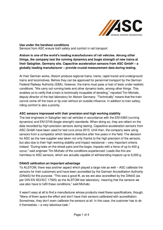 ASC Sensors Application Report: Alstom