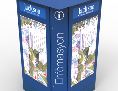 Nanov Architectural LCD Sign – Jackson Memorial Hospital Sign, 75 Multi-Sided, Interactive Touch Screen Kiosk