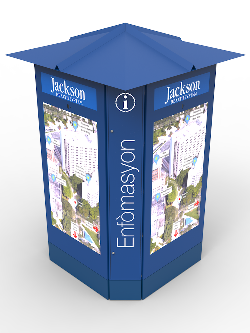 LCD Sign - Jackson Memorial Hospital Sign, 75 Multi-Sided, Interactive Touch Screen Kiosk