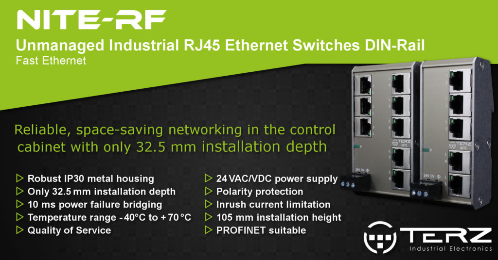 Flat Unmanaged Industrial Ethernet Switches RJ45 DIN-Rail