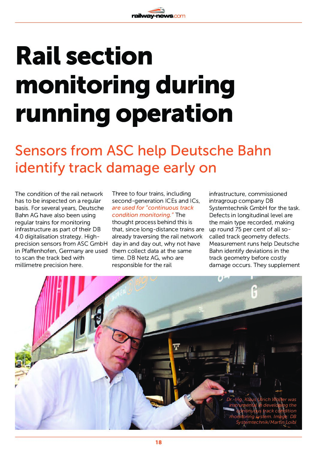 Rail Section Monitoring During Running Operation