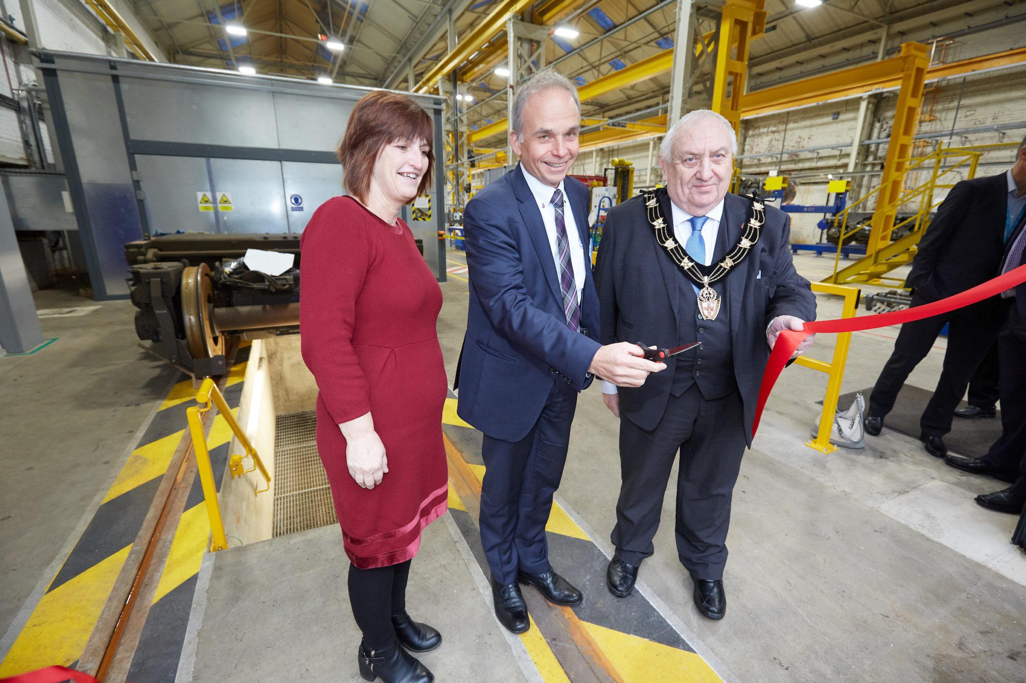 Siemens bogie service centre ribbon cutting