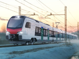 Rendering of one of the Stadler Ticino Lombardy trains