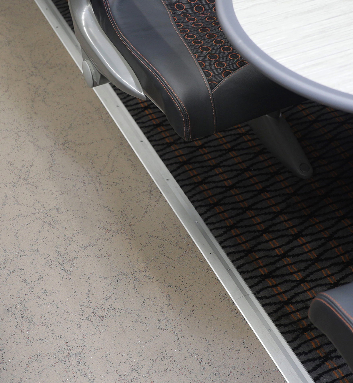 Altro custom design rail flooring on a Grand Central intercity train in standard class