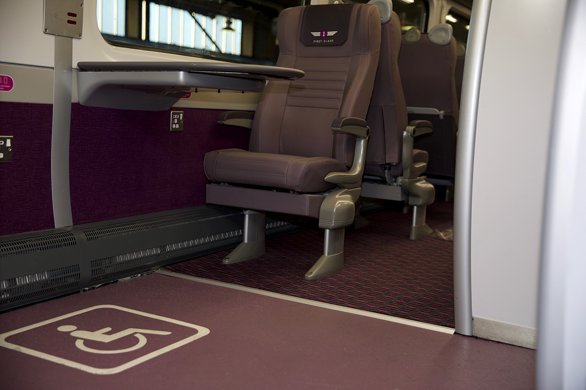 Altro custom design rail flooring on a Grand Central intercity train in first class