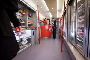 Altro Transflor Met installed in the buffet car of a Virgin Pendolino train
