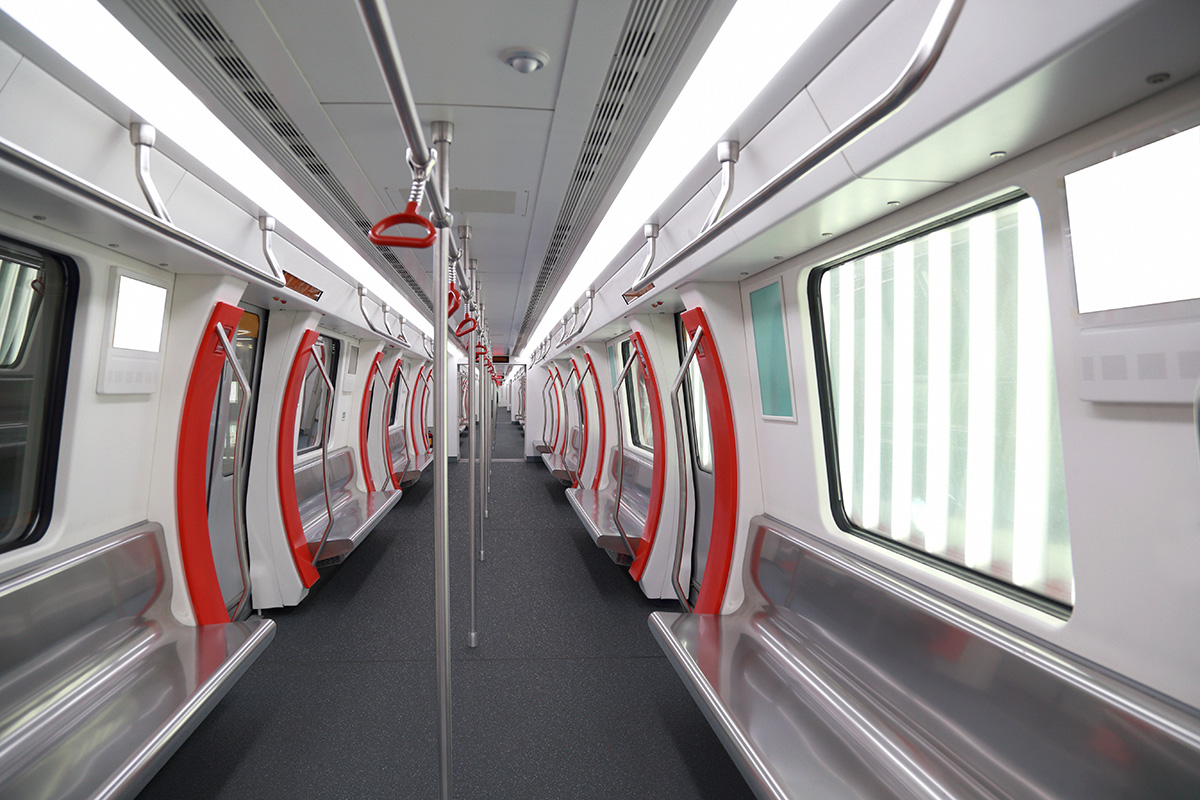 Interior view of a subway car in China