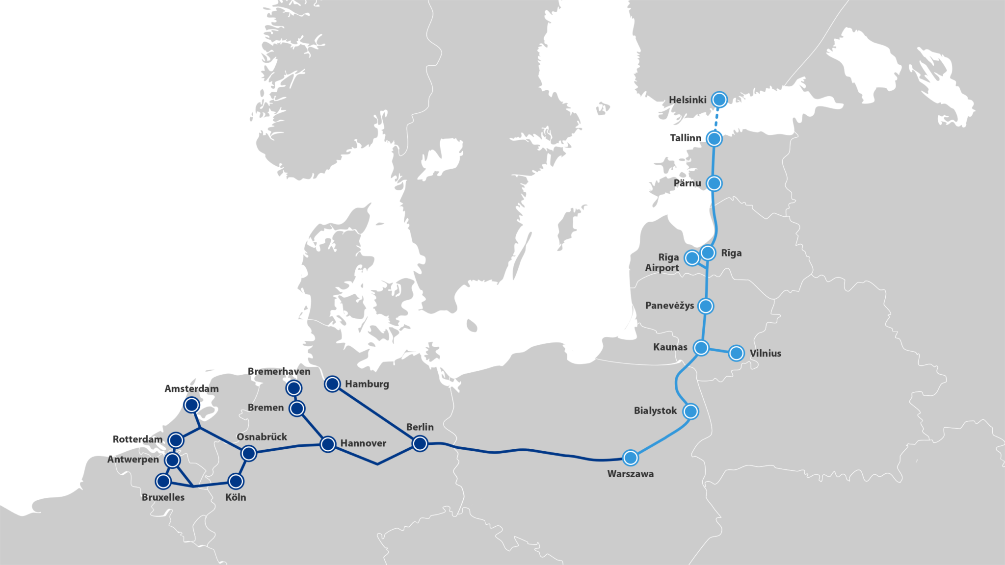 Rail Baltica project map