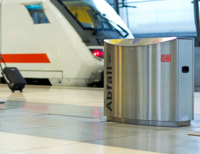 AUWEKO Stainless Steel Waste and Recycling Bins for Railway Stations