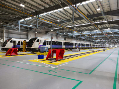 Class 345 Elizabeth line trains at Old Oak Common depot