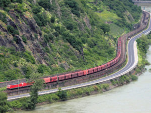 DB Cargo Freight Train in the Central Rhine Valley
