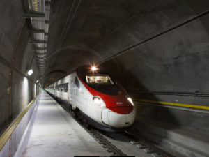 Swiss train in the Gotthard Base Tunnel