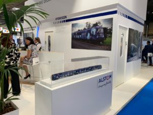 Alstom Breeze hydrogen train model at Railtex