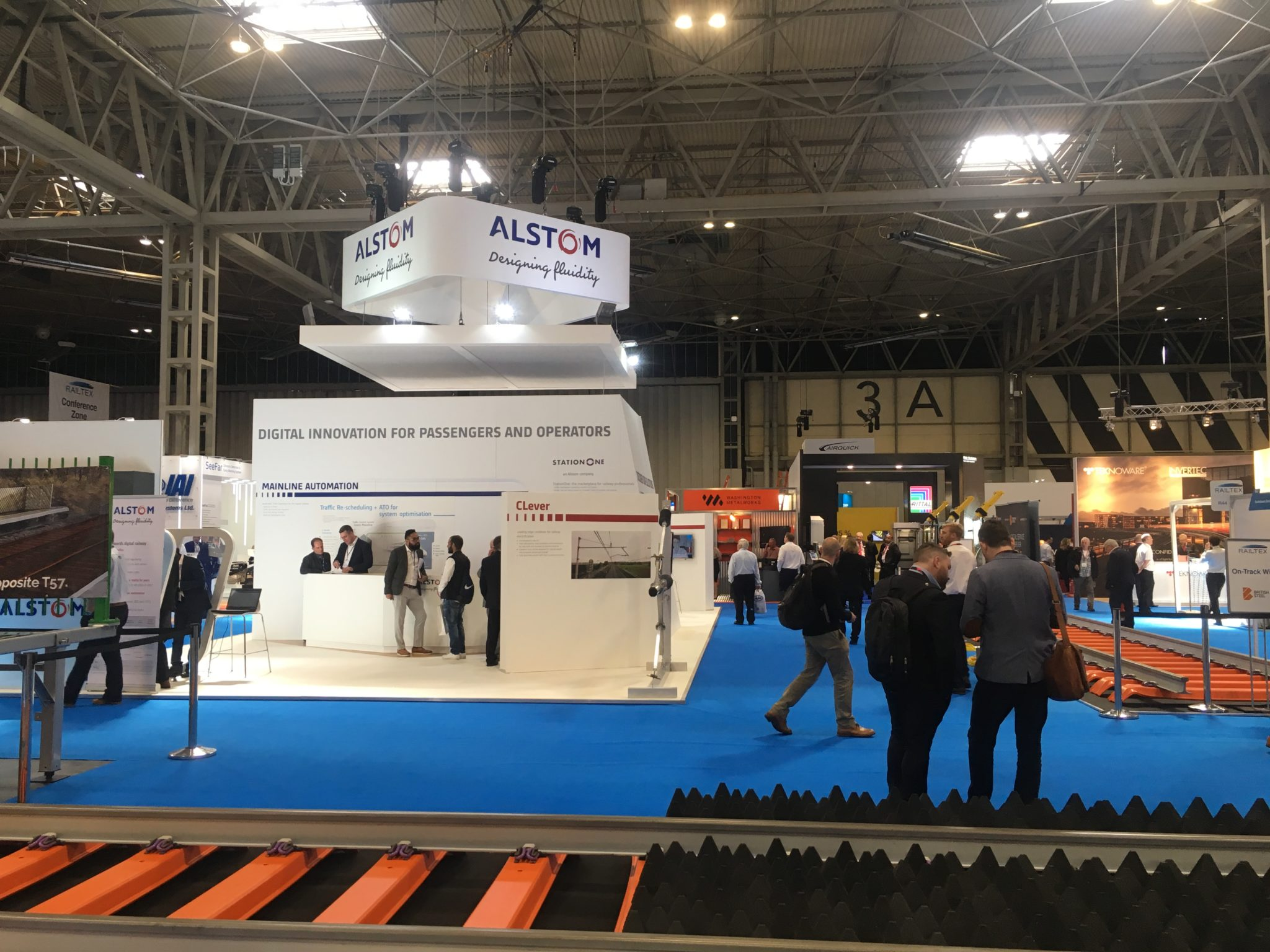 Alstom stand and British Steel track display at Railtex 2019
