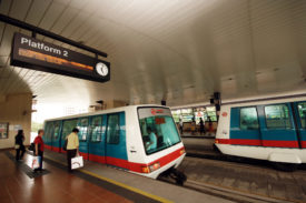 The current rolling stock: Bombardier INNOVIA APM 100 Singapore